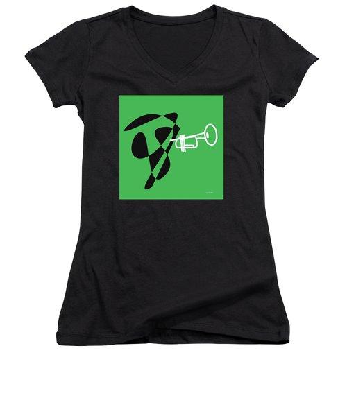 Women's V-Neck T-Shirt (Junior Cut) featuring the digital art Trumpet In Green by Jazz DaBri
