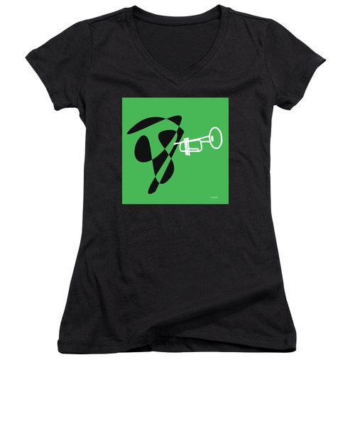 Trumpet In Green Women's V-Neck (Athletic Fit)