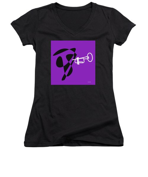 Trumpet In Purple Women's V-Neck (Athletic Fit)