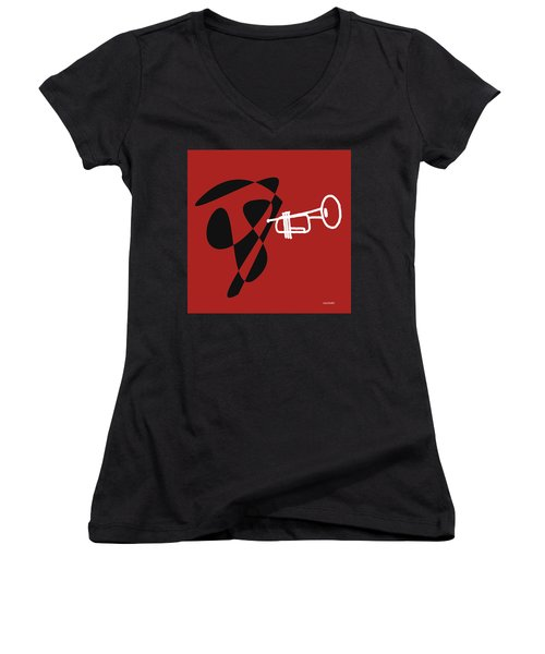 Women's V-Neck T-Shirt (Junior Cut) featuring the digital art Trumpet In Orange Red by Jazz DaBri