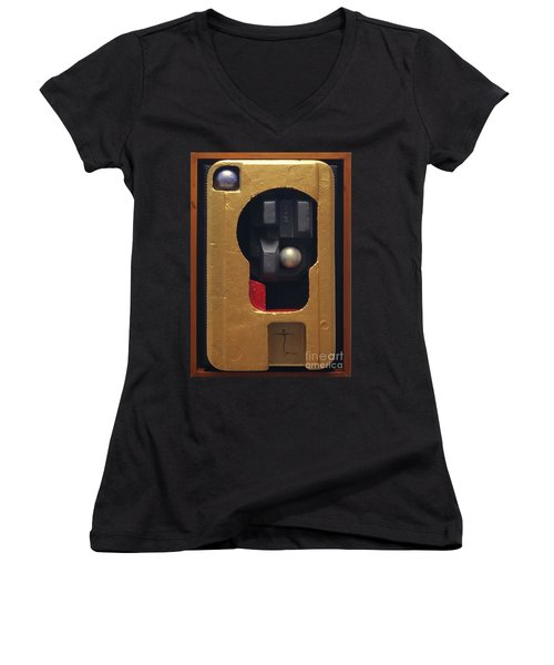 Women's V-Neck T-Shirt (Junior Cut) featuring the painting Trump's Promises by James Lanigan Thompson MFA