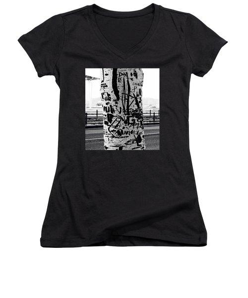 Women's V-Neck T-Shirt (Junior Cut) featuring the photograph Trunk Art Lisbon by Lorraine Devon Wilke