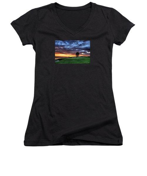 Try Me The Landing Women's V-Neck T-Shirt (Junior Cut) by Reid Callaway