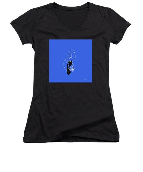 Women's V-Neck T-Shirt (Junior Cut) featuring the digital art Tuba In Blue by Jazz DaBri