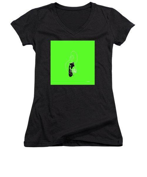 Tuba In Green Women's V-Neck (Athletic Fit)