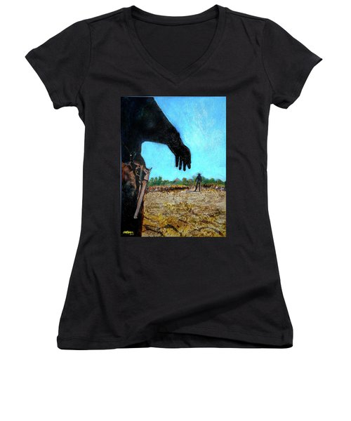 Women's V-Neck T-Shirt (Junior Cut) featuring the painting Tuco  by Seth Weaver