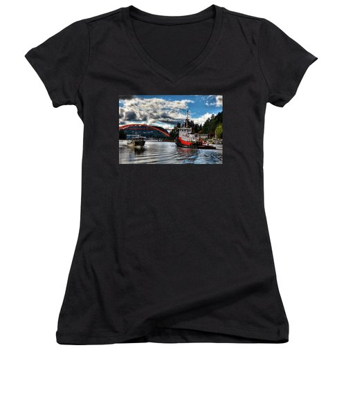 Tugboat At The Rainbow Bridge Women's V-Neck T-Shirt (Junior Cut) by David Patterson