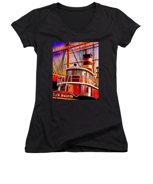 Women's V-Neck T-Shirt (Junior Cut) featuring the photograph Tugboat Helen Mcallister by Chris Lord