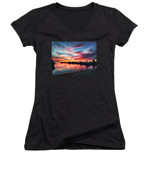 Tugboat Sirius At Sunrise Women's V-Neck (Athletic Fit)