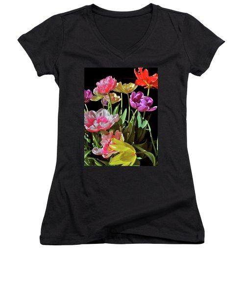 Women's V-Neck T-Shirt (Junior Cut) featuring the photograph Tulip 8 by Pamela Cooper