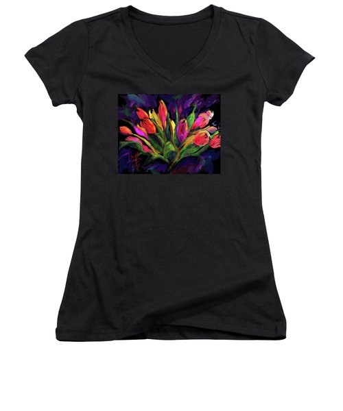 Tulips Women's V-Neck T-Shirt (Junior Cut) by DC Langer