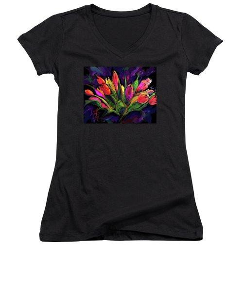 Tulips Women's V-Neck