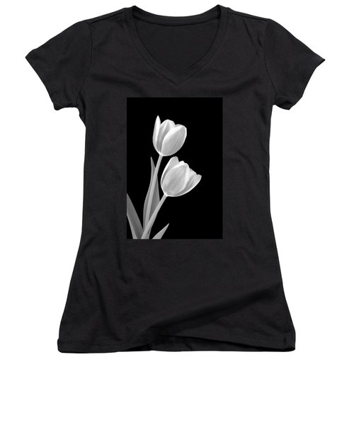 Tulips In Black And White Women's V-Neck (Athletic Fit)
