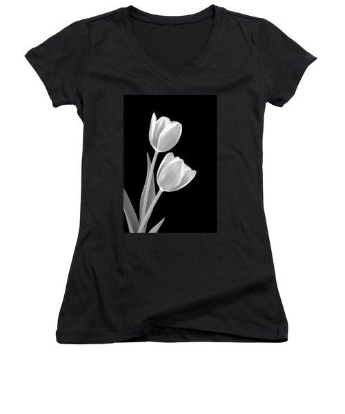 Tulips In Black And White Women's V-Neck