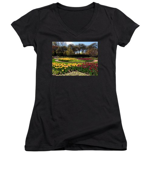Women's V-Neck T-Shirt (Junior Cut) featuring the photograph Tulips In The Spring by Teresa Schomig