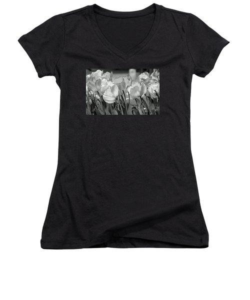 Women's V-Neck T-Shirt (Junior Cut) featuring the photograph Tulips by JoAnn Lense