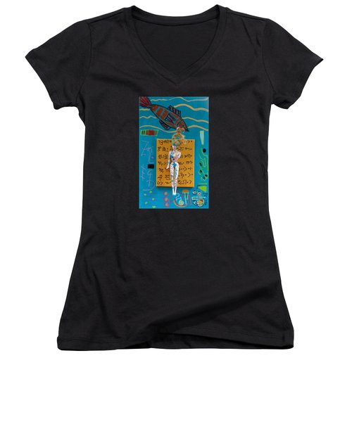 Turmeric Herbal Tincture Women's V-Neck T-Shirt (Junior Cut) by Clarity Artists