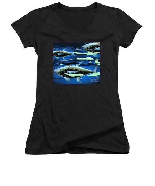 Women's V-Neck T-Shirt (Junior Cut) featuring the painting Tuna Run by Andrew Drozdowicz