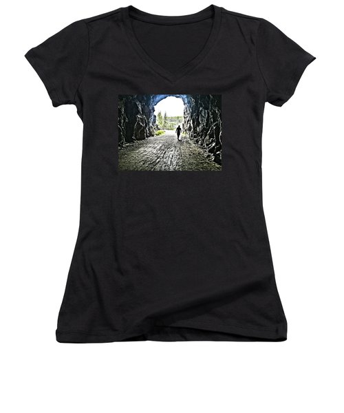 Women's V-Neck T-Shirt (Junior Cut) featuring the photograph Tunnel Vision by Nadine Dennis