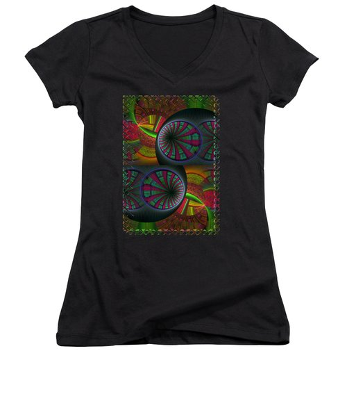Tunneling Abstract Fractal Women's V-Neck T-Shirt (Junior Cut) by Sharon and Renee Lozen