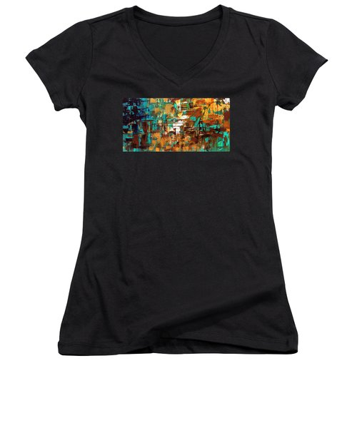 Women's V-Neck T-Shirt (Junior Cut) featuring the painting Turquoise Scent by Carmen Guedez