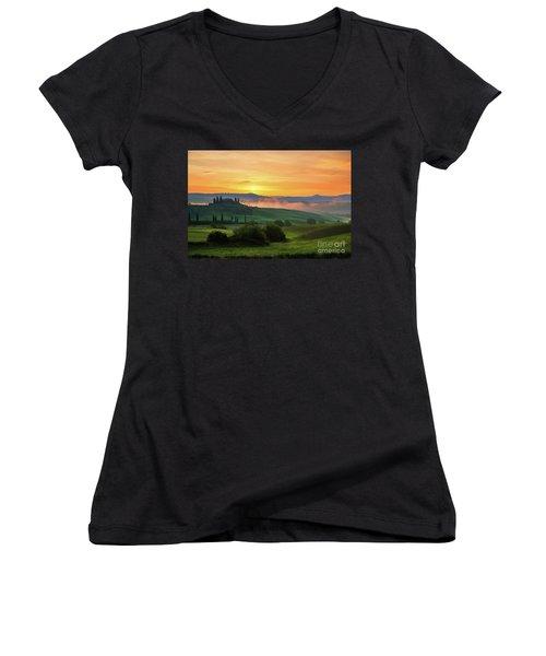 Tuscan Dream II Women's V-Neck T-Shirt (Junior Cut) by Yuri Santin