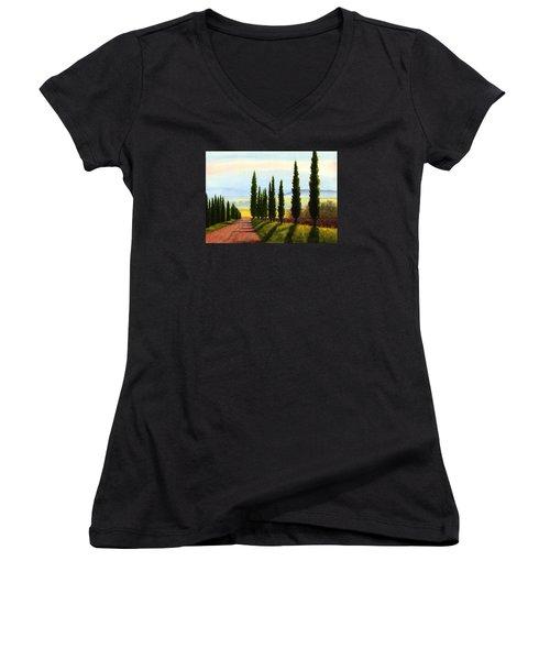 Tuscany Cypress Trees Women's V-Neck T-Shirt (Junior Cut) by Janet King