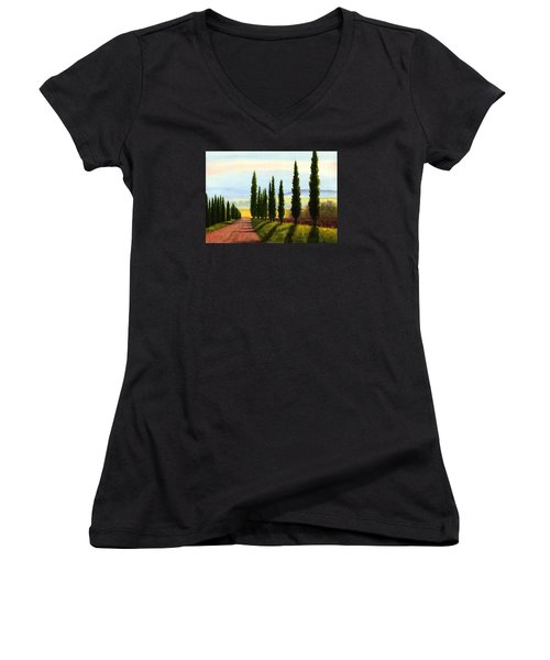 Tuscany Cypress Trees Women's V-Neck (Athletic Fit)