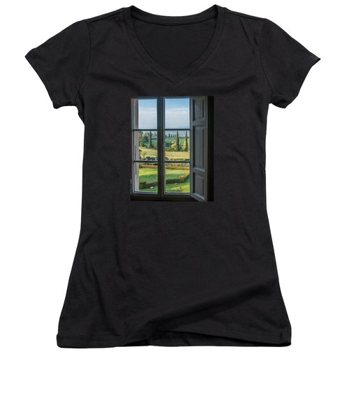 Tuscany Out My Window Women's V-Neck T-Shirt