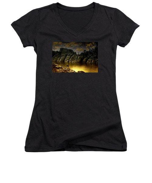 Twilight At The Lake Women's V-Neck T-Shirt (Junior Cut) by Ellen Heaverlo