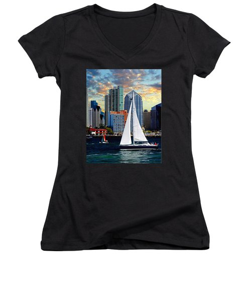 Twilight Harbor Curise1 Women's V-Neck (Athletic Fit)