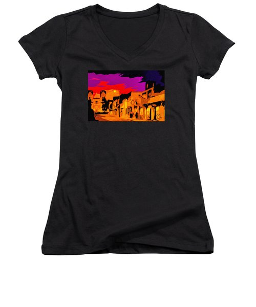 Twilight On The Plaza Santa Fe Women's V-Neck (Athletic Fit)