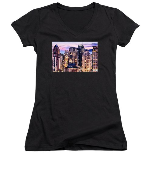 Twilight Over English Bay Vancouver Women's V-Neck T-Shirt (Junior Cut) by Amyn Nasser