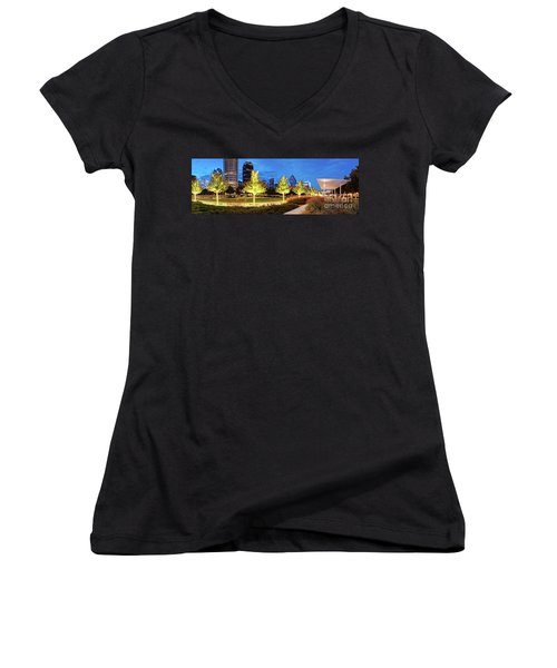 Twilight Panorama Of Klyde Warren Park And Downtown Dallas Skyline - North Texas Women's V-Neck