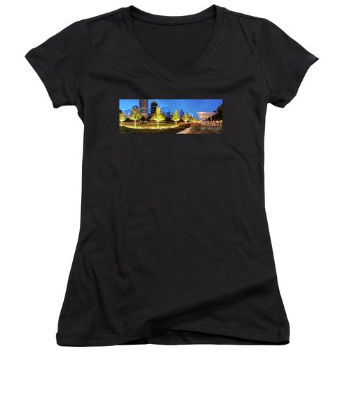 Twilight Panorama Of Klyde Warren Park And Downtown Dallas Skyline - North Texas Women's V-Neck (Athletic Fit)
