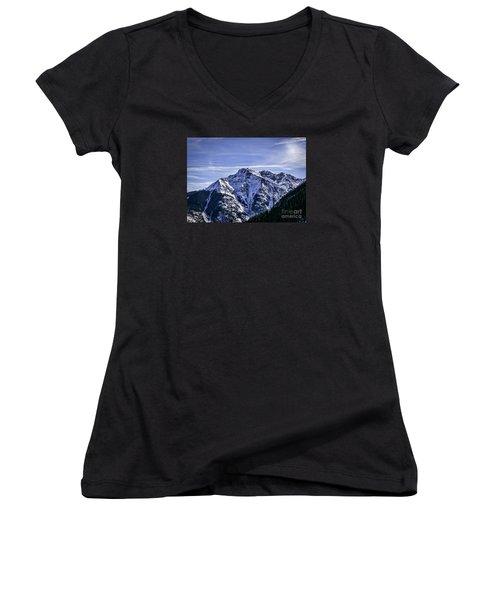 Twilight Peak Colorado Women's V-Neck T-Shirt (Junior Cut) by Janice Rae Pariza