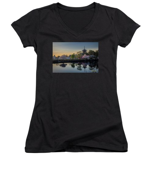Women's V-Neck T-Shirt featuring the photograph Twilight Temple by Rikk Flohr