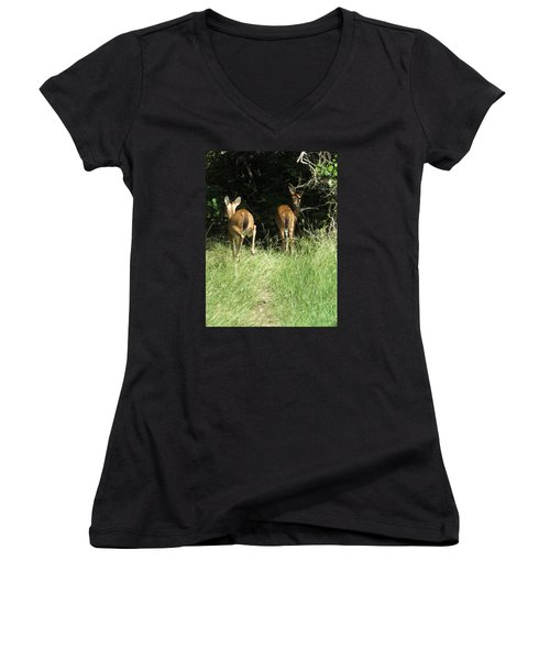 Women's V-Neck T-Shirt (Junior Cut) featuring the photograph Twin Fawns by Phyllis Beiser