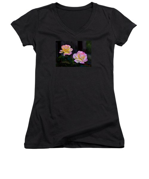 Twin Roses Women's V-Neck T-Shirt (Junior Cut) by Josephine Buschman