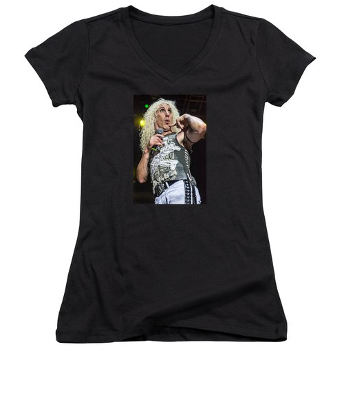 Women's V-Neck T-Shirt (Junior Cut) featuring the photograph Twisted Sister - Dee Snider by Stefan Nielsen