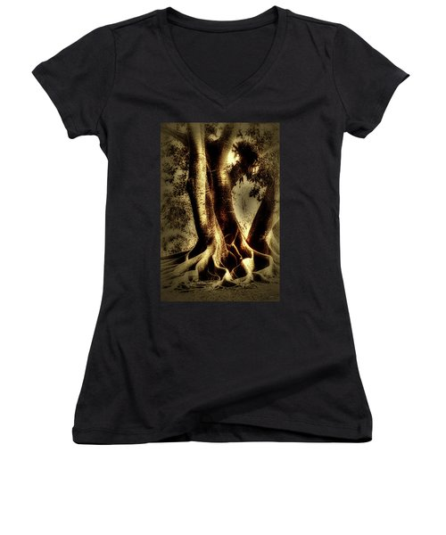 Women's V-Neck T-Shirt (Junior Cut) featuring the photograph Twisted Trees by Tom Prendergast
