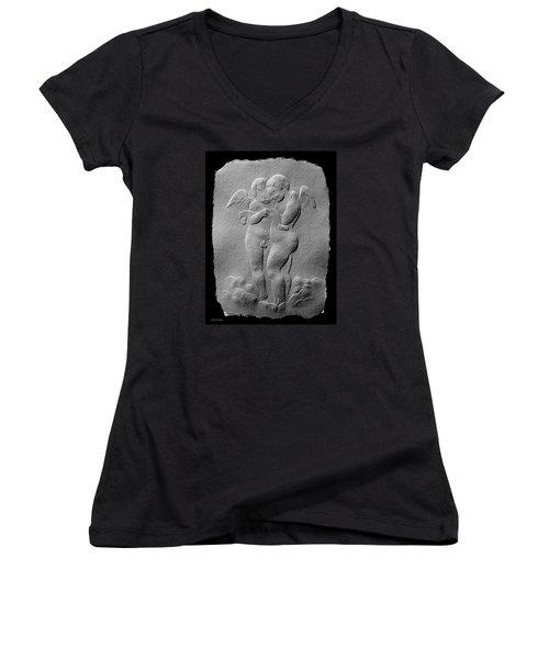 Two Angels Women's V-Neck T-Shirt (Junior Cut) by Suhas Tavkar