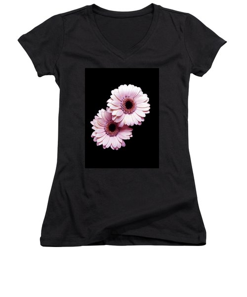Two Gerberas On Black Women's V-Neck (Athletic Fit)
