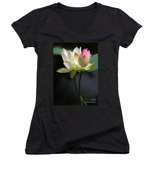Two Lotus Flowers Women's V-Neck T-Shirt