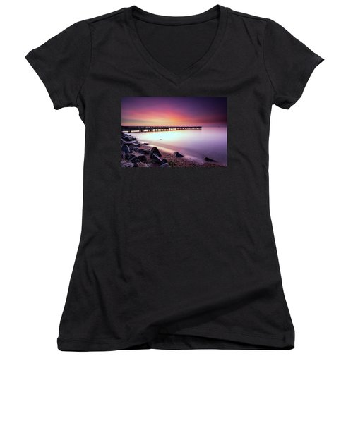 Women's V-Neck T-Shirt (Junior Cut) featuring the photograph Two Minutes Of Blue Hour   by Edward Kreis