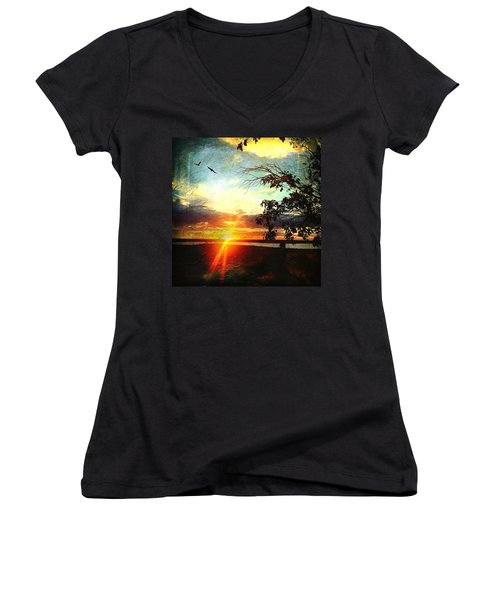 Two Souls Flying Off Into The Sunset  Women's V-Neck T-Shirt (Junior Cut) by Debra Martz