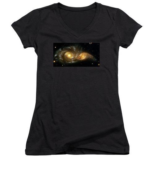 Two Spiral Galaxies Women's V-Neck T-Shirt