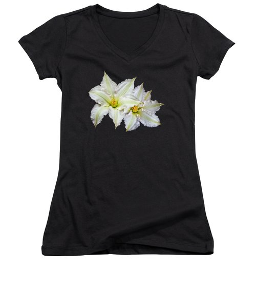 Two White Clematis Flowers On Black Women's V-Neck T-Shirt (Junior Cut) by Jane McIlroy