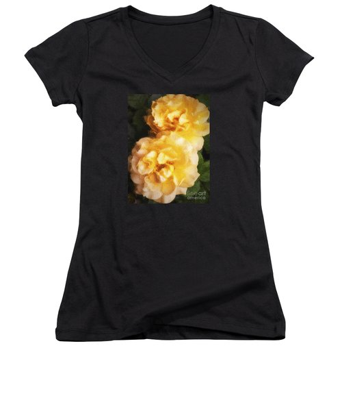 Women's V-Neck T-Shirt (Junior Cut) featuring the photograph Two Yellow Roses  ... by Chuck Caramella