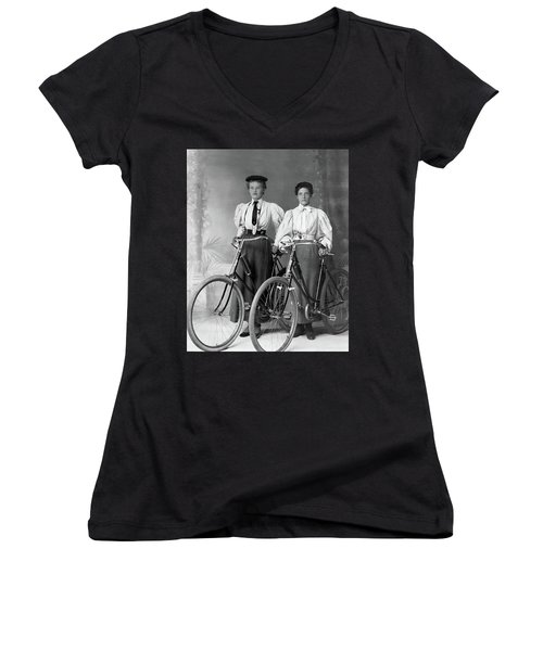 Two Young Ladies With Their Bicycles Circa 1895 Women's V-Neck